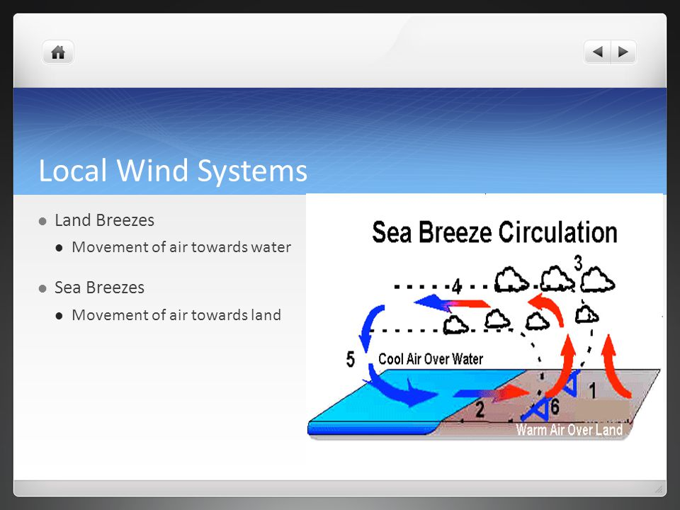 Local Wind Systems Land Breezes Sea Breezes