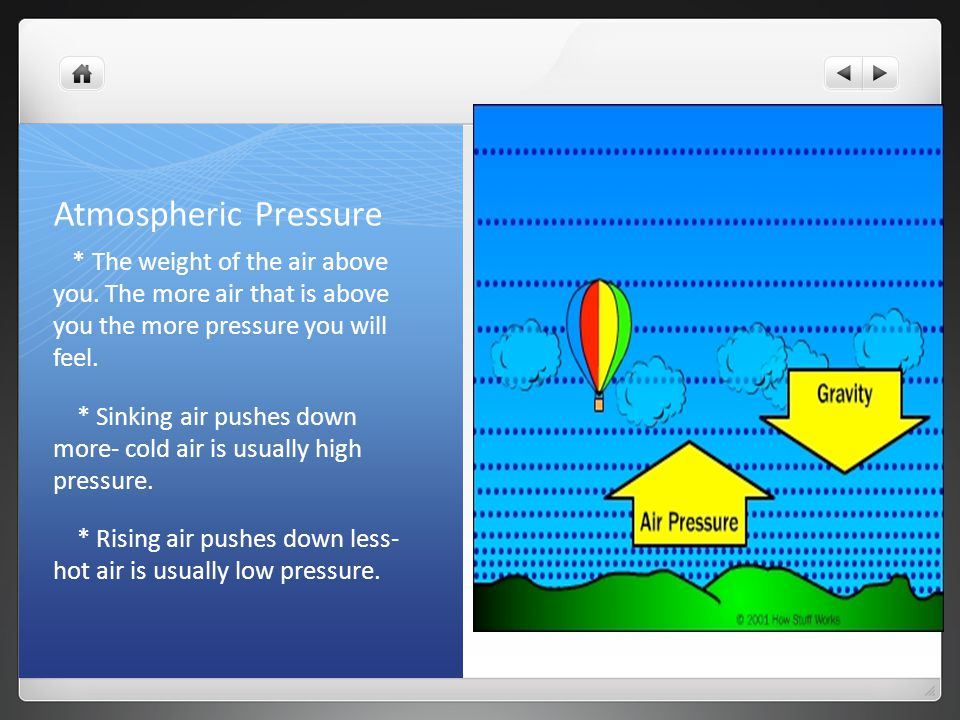 Atmospheric Pressure * The weight of the air above you. The more air that is above you the more pressure you will feel.
