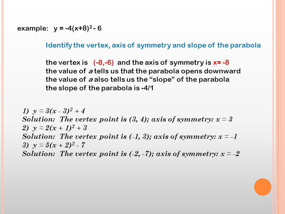 example: y = -4(x+8)2 - 6 Identify the vertex, axis of symmetry and slope of the parabola.
