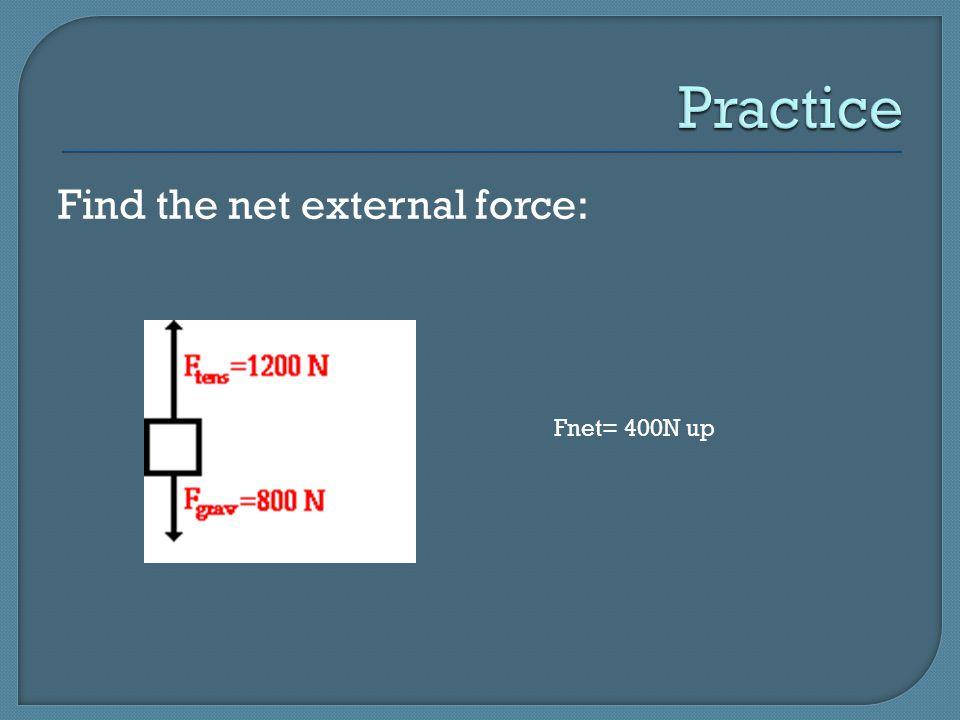 Practice Find the net external force: Fnet= 400N up