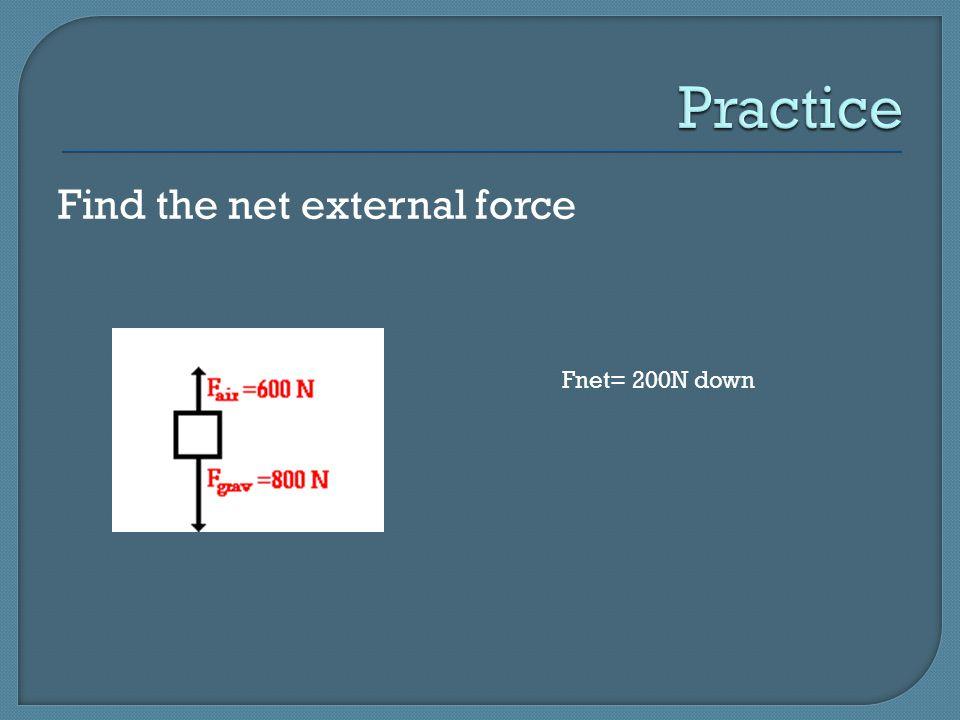 Practice Find the net external force Fnet= 200N down
