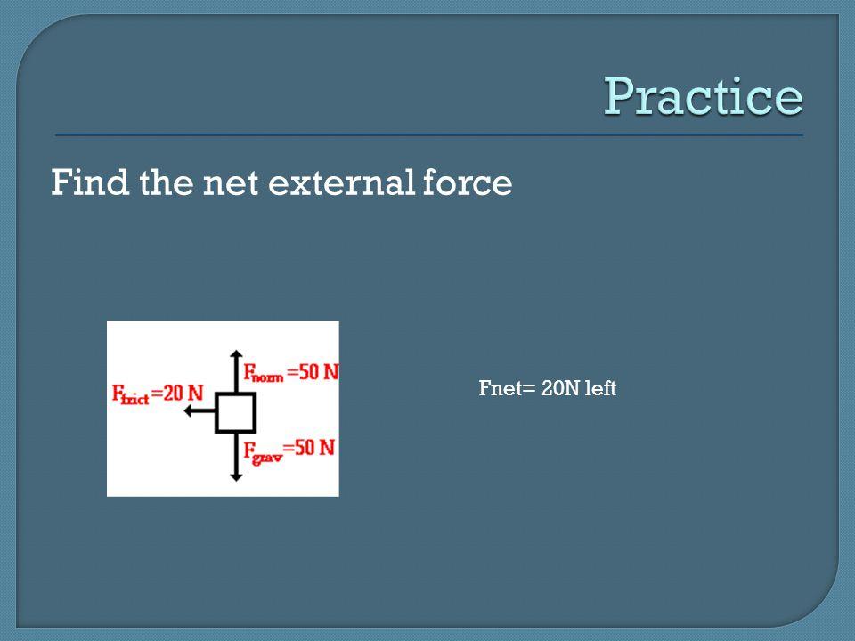 Practice Find the net external force Fnet= 20N left