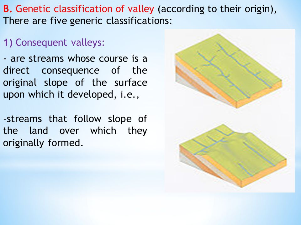 B. Genetic classification of valley (according to their origin), There are five generic classifications: