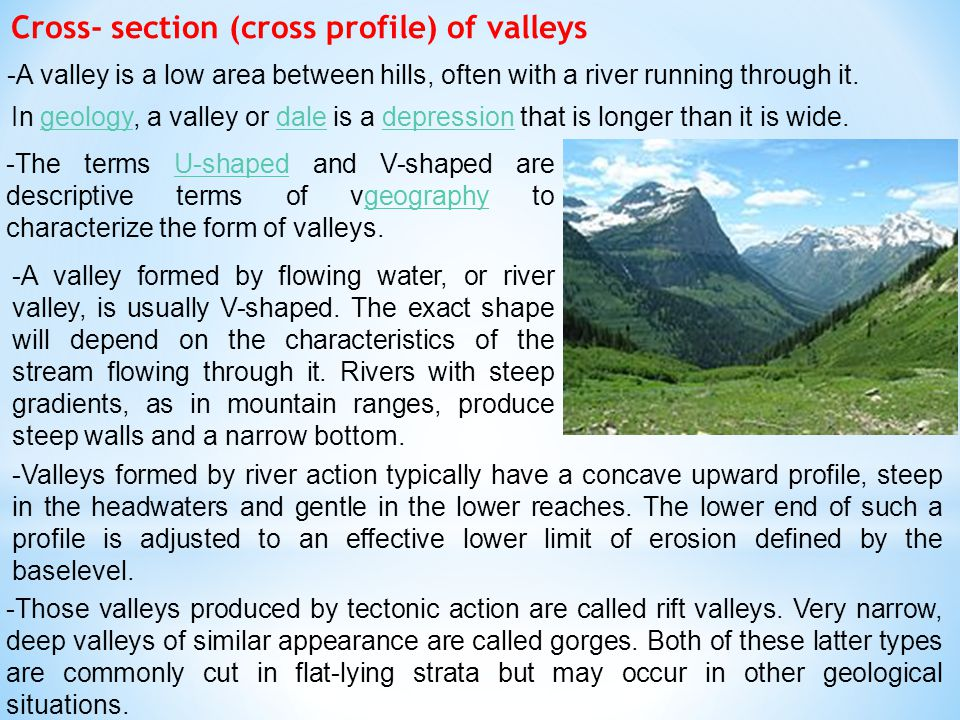 Cross- section (cross profile) of valleys