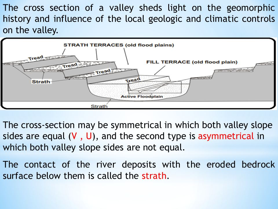 The cross section of a valley sheds light on the geomorphic history and influence of the local geologic and climatic controls on the valley.