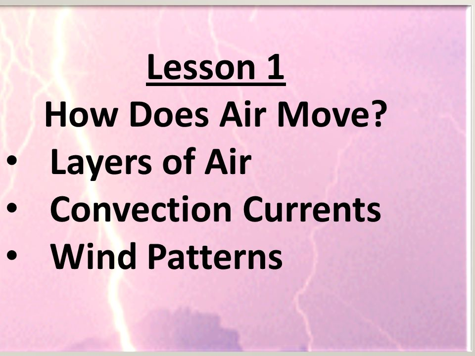 Lesson 1 How Does Air Move Layers of Air Convection Currents Wind Patterns