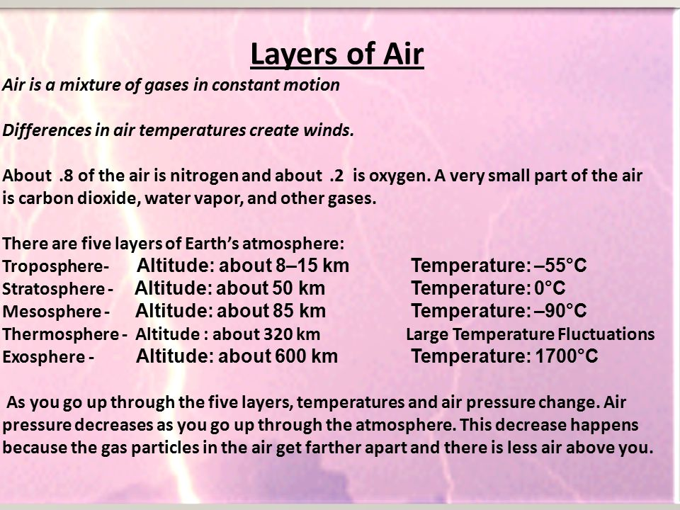 Layers of Air Air is a mixture of gases in constant motion