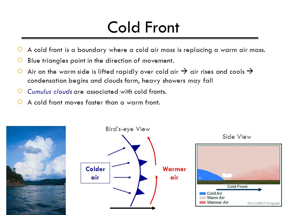 Cold Front A cold front is a boundary where a cold air mass is replacing a warm air mass. Blue triangles point in the direction of movement.