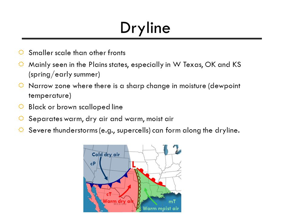 Dryline L Smaller scale than other fronts