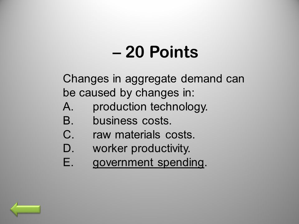 – 20 Points Changes in aggregate demand can be caused by changes in: