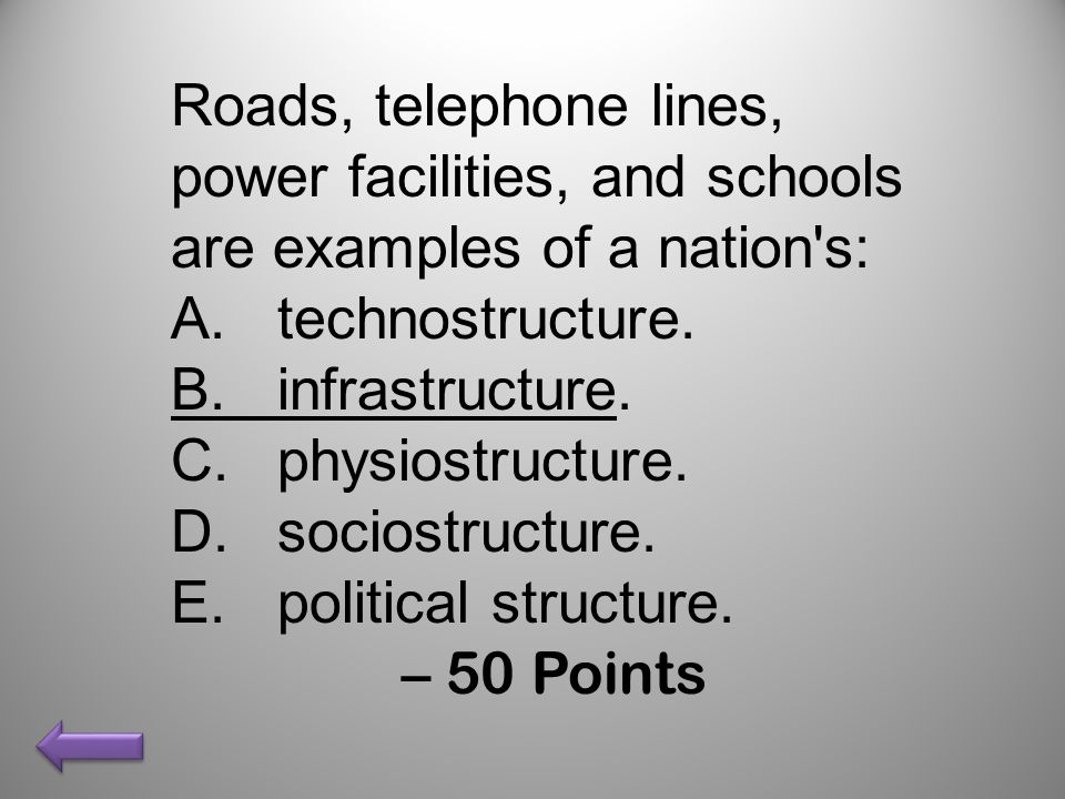 Roads, telephone lines, power facilities, and schools are examples of a nation s:
