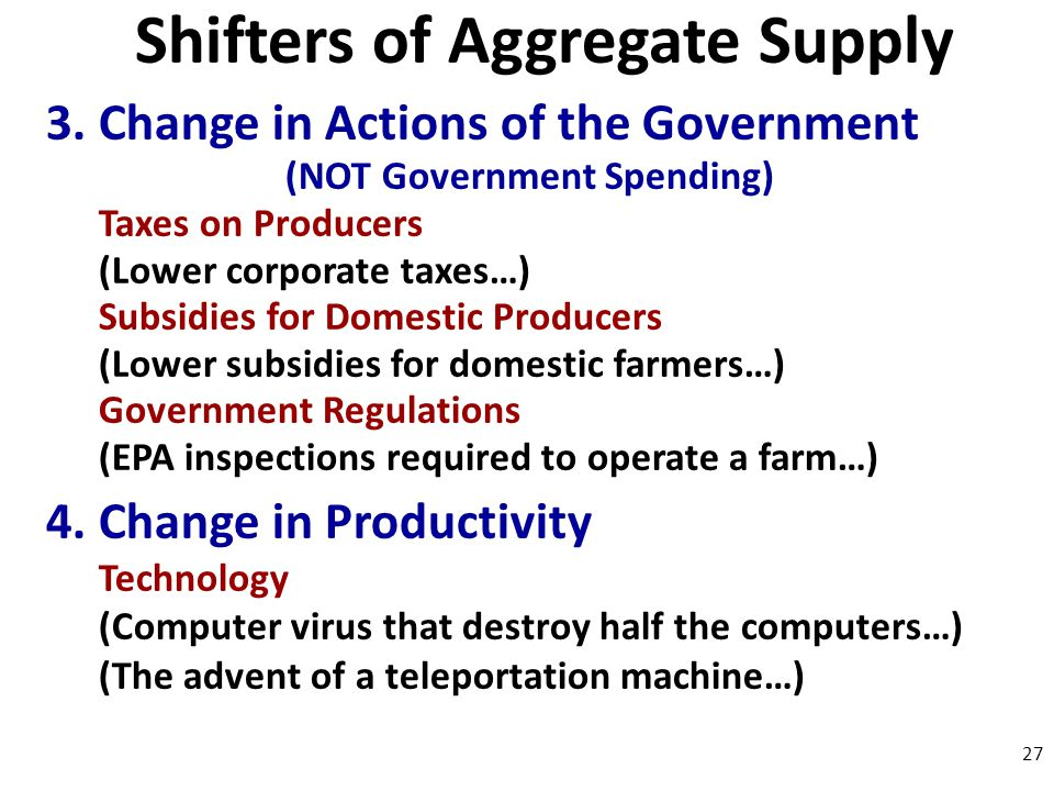 Shifters of Aggregate Supply (NOT Government Spending)