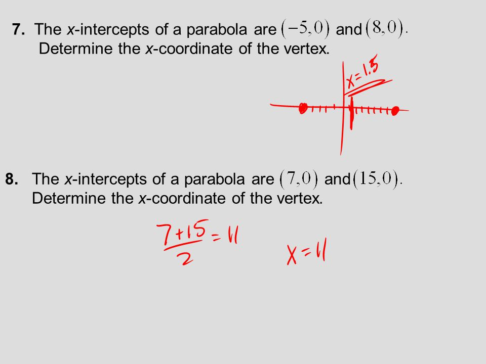 7. The x-intercepts of a parabola are and