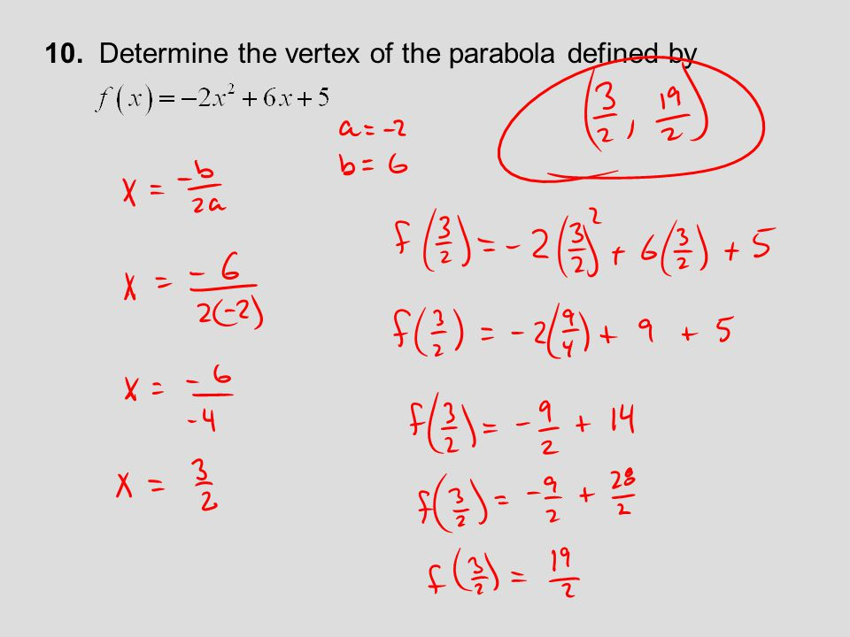 10. Determine the vertex of the parabola defined by