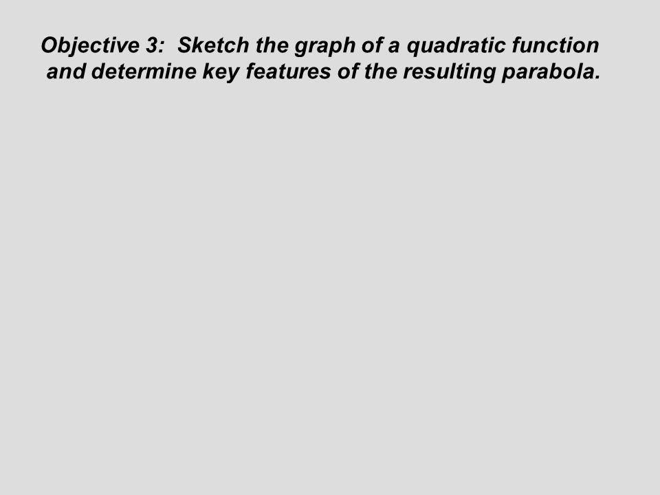 Objective 3: Sketch the graph of a quadratic function