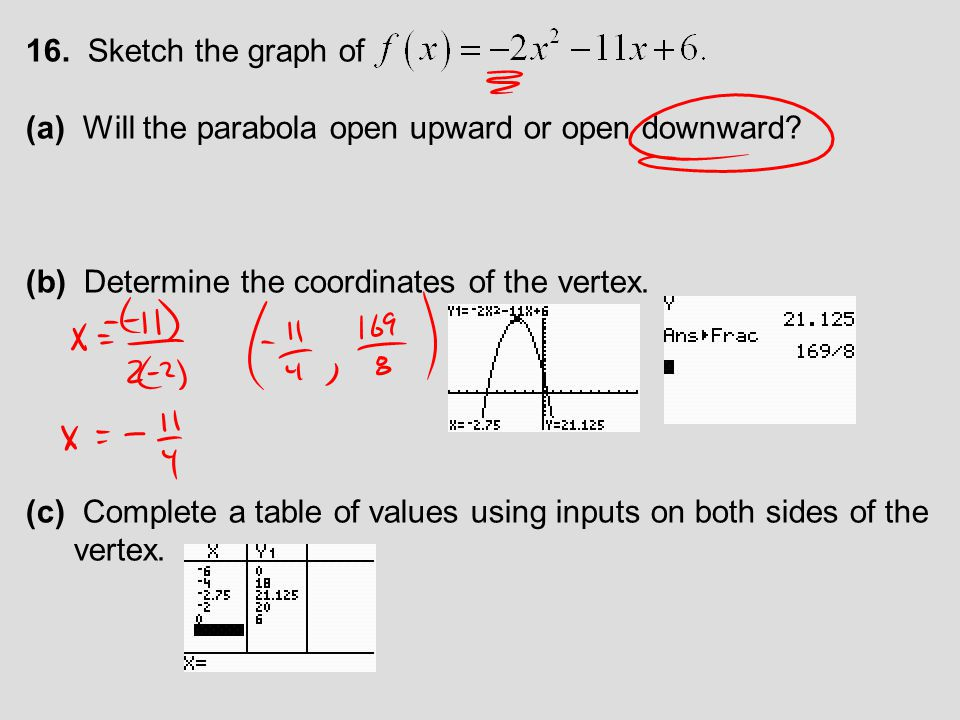 16. Sketch the graph of (a) Will the parabola open upward or open downward (b) Determine the coordinates of the vertex.