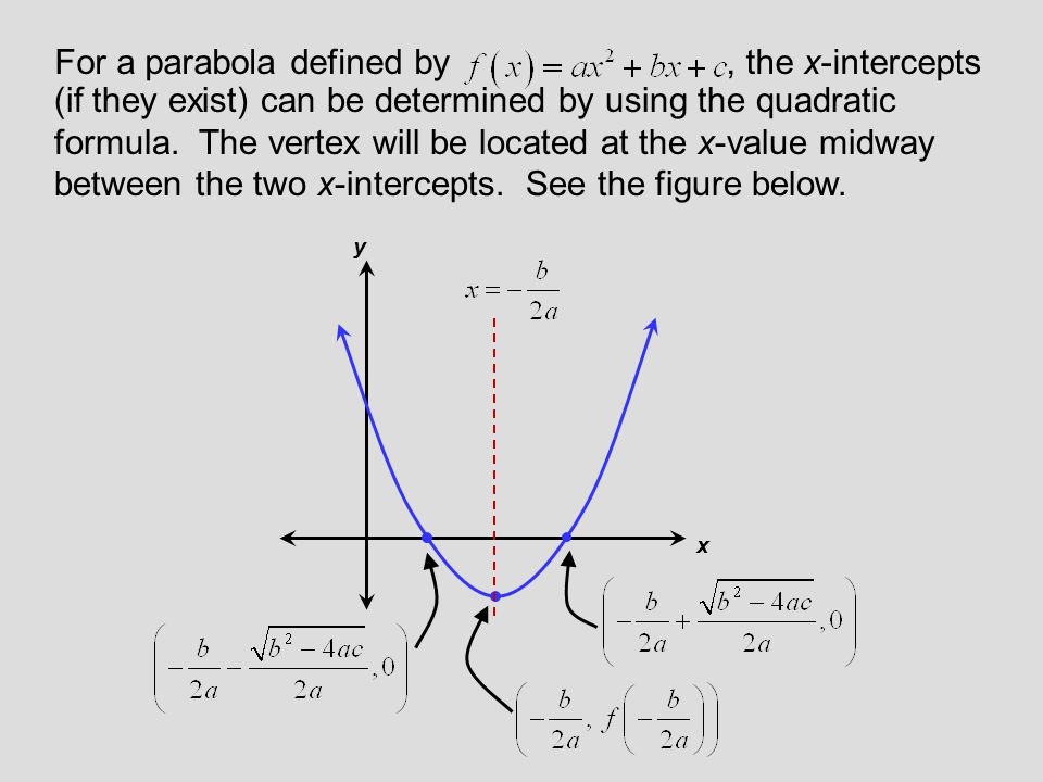 For a parabola defined by , the x-intercepts