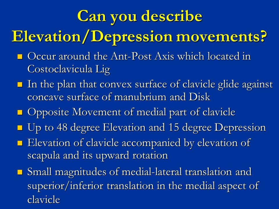 Can you describe Elevation/Depression movements