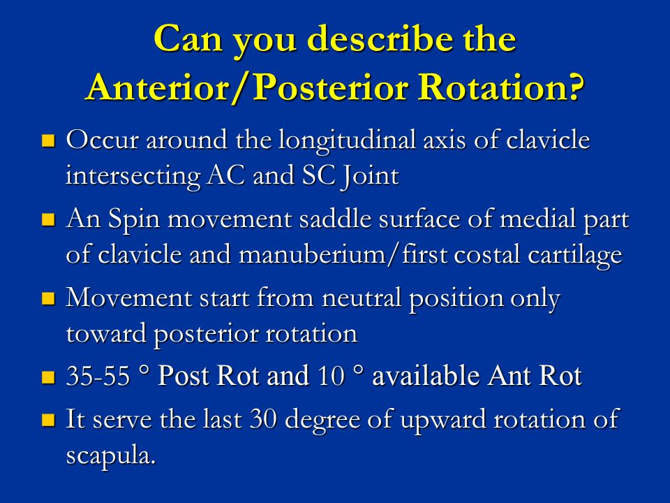 Can you describe the Anterior/Posterior Rotation