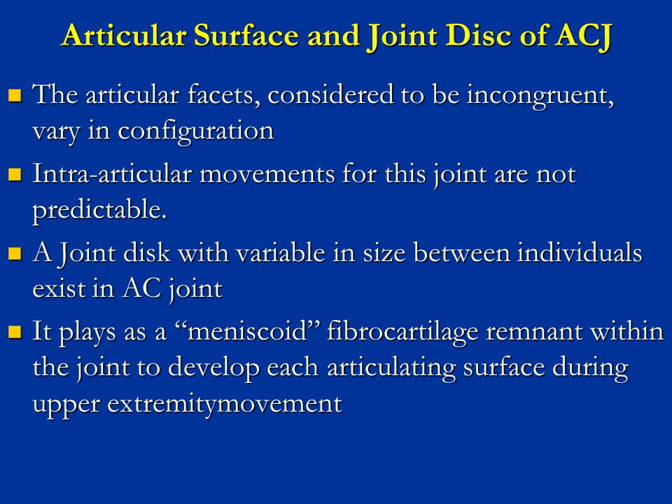 Articular Surface and Joint Disc of ACJ