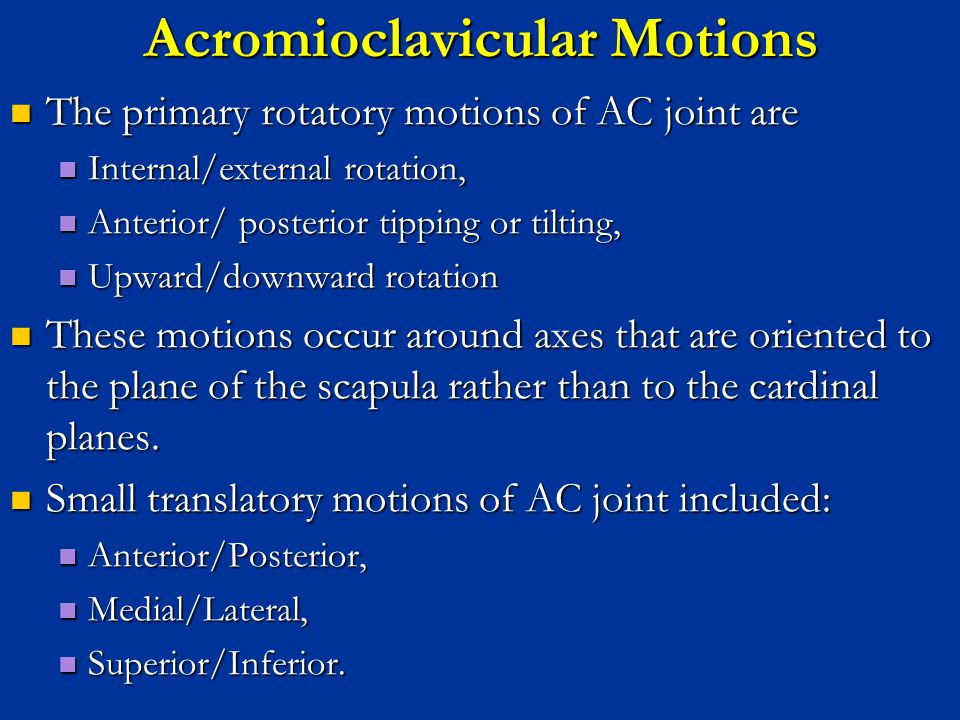 Acromioclavicular Motions