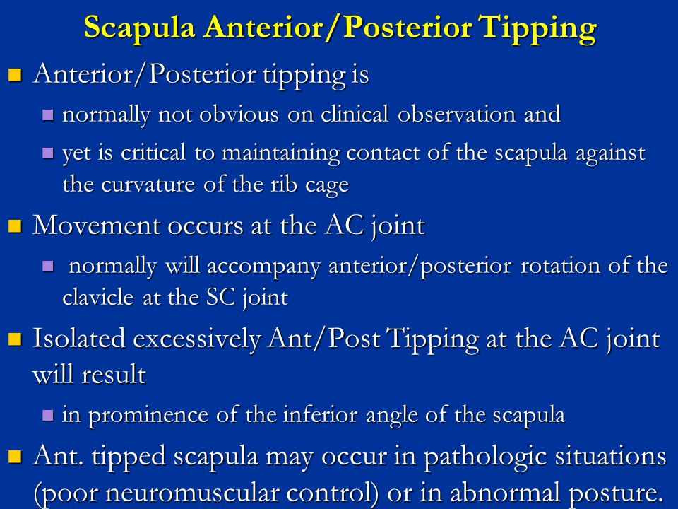 Scapula Anterior/Posterior Tipping