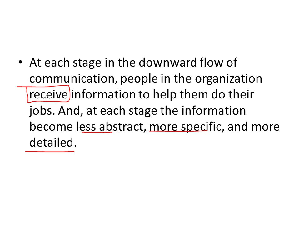At each stage in the downward flow of communication, people in the organization receive information to help them do their jobs.