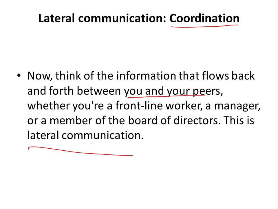 Lateral communication: Coordination