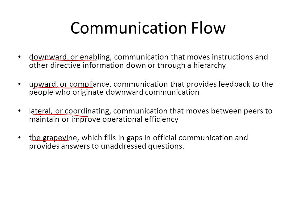 Communication Flow downward, or enabling, communication that moves instructions and other directive information down or through a hierarchy.