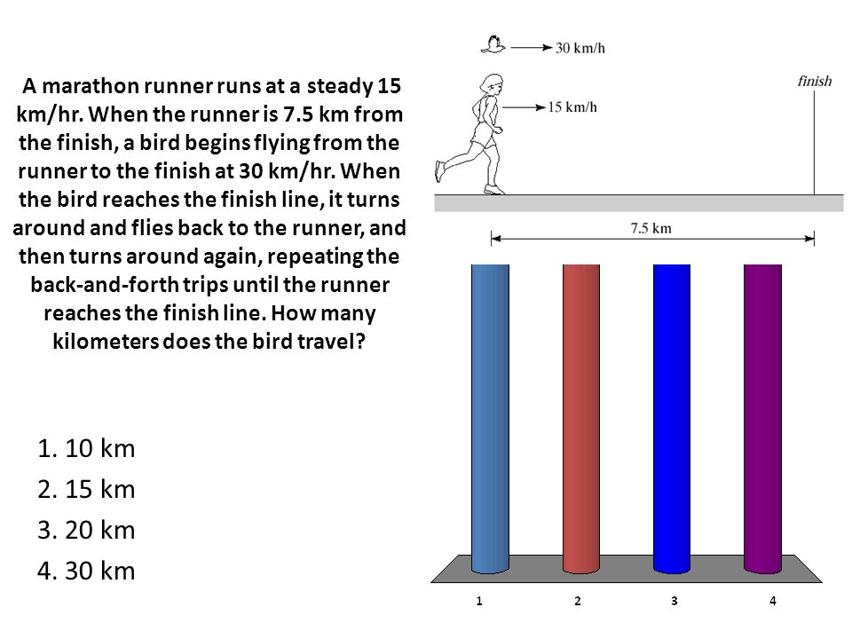 A marathon runner runs at a steady 15 km/hr. When the runner is 7