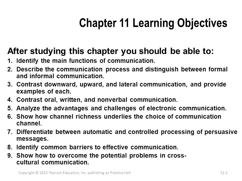 Chapter 11 Learning Objectives