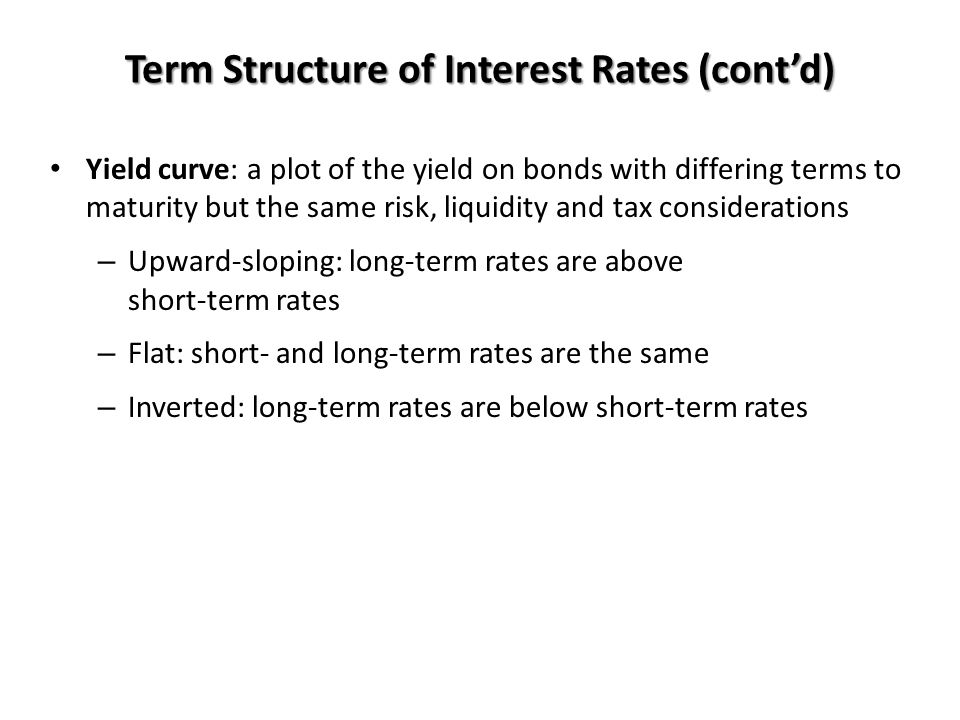 Term Structure of Interest Rates (cont'd)