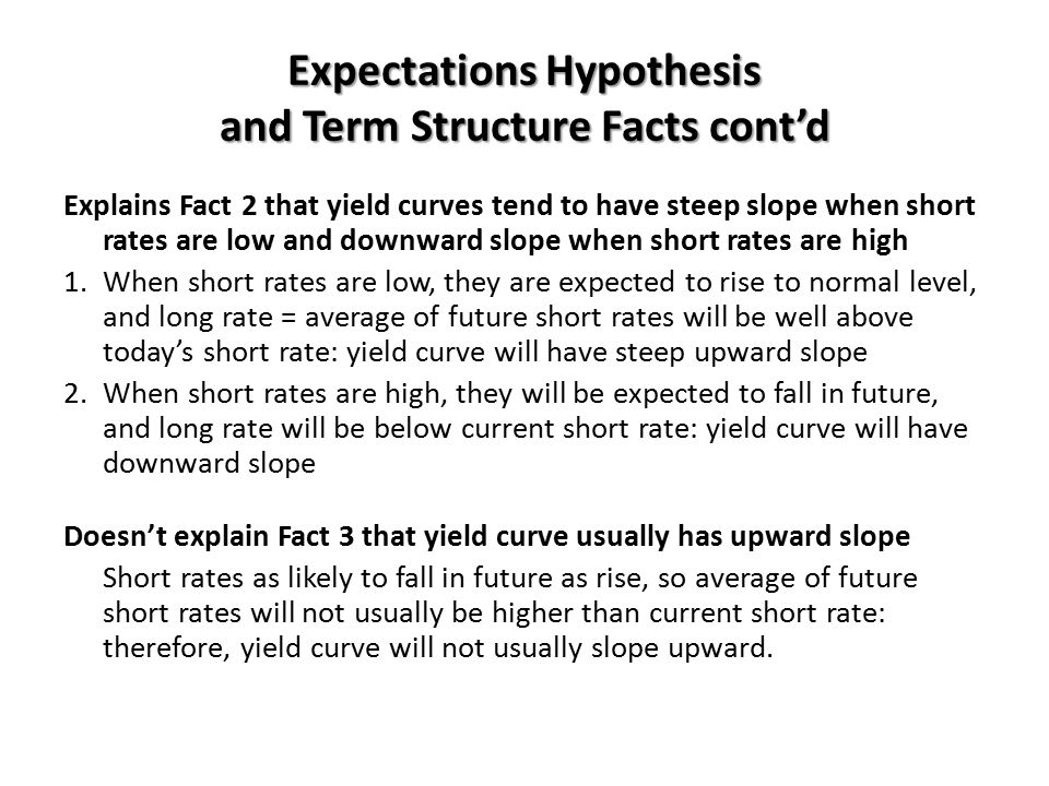 Expectations Hypothesis and Term Structure Facts cont'd