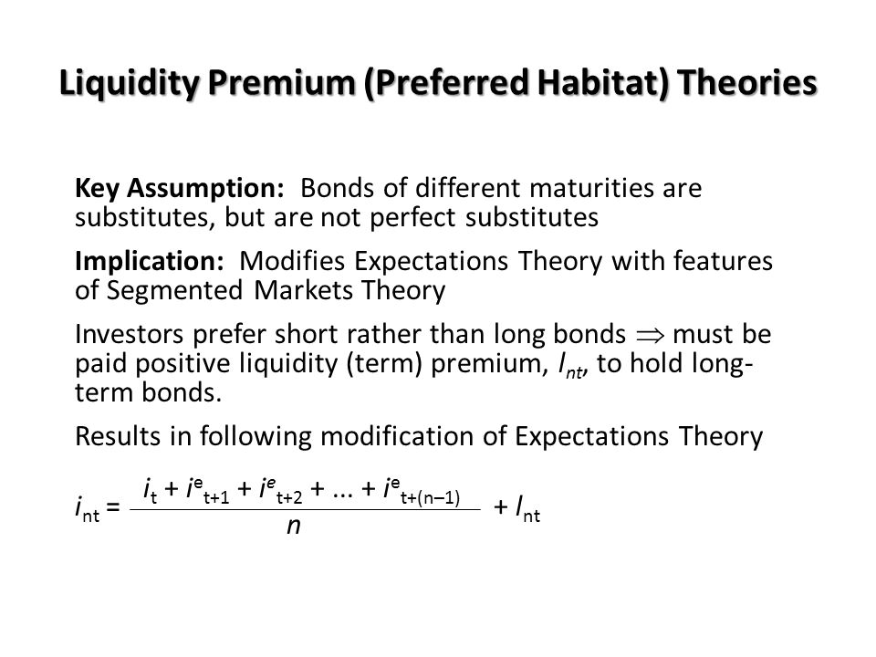 Liquidity Premium (Preferred Habitat) Theories