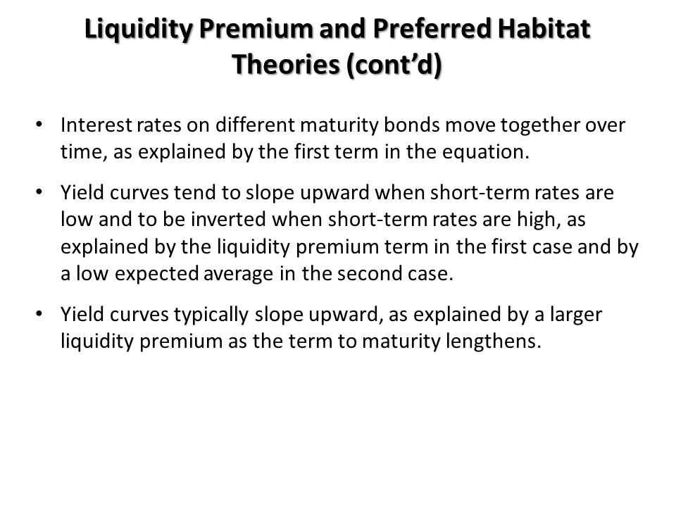 Liquidity Premium and Preferred Habitat Theories (cont'd)