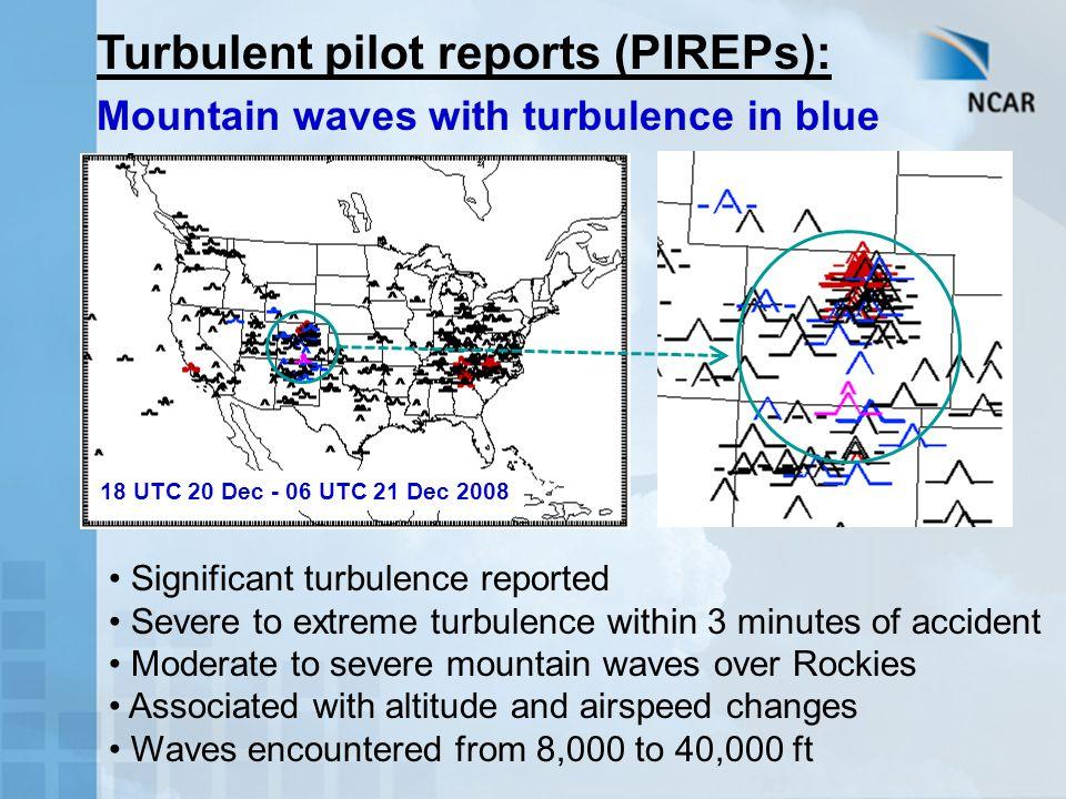 Turbulent pilot reports (PIREPs):
