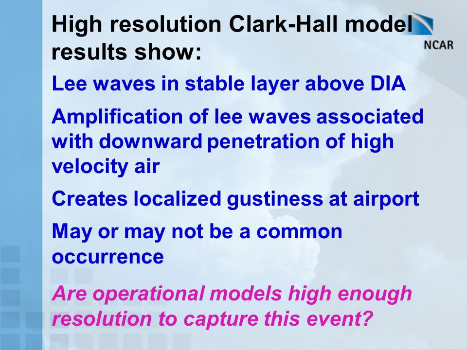 High resolution Clark-Hall model results show: