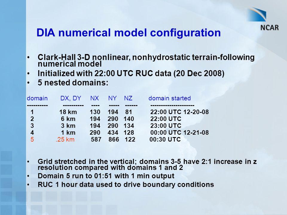 DIA numerical model configuration
