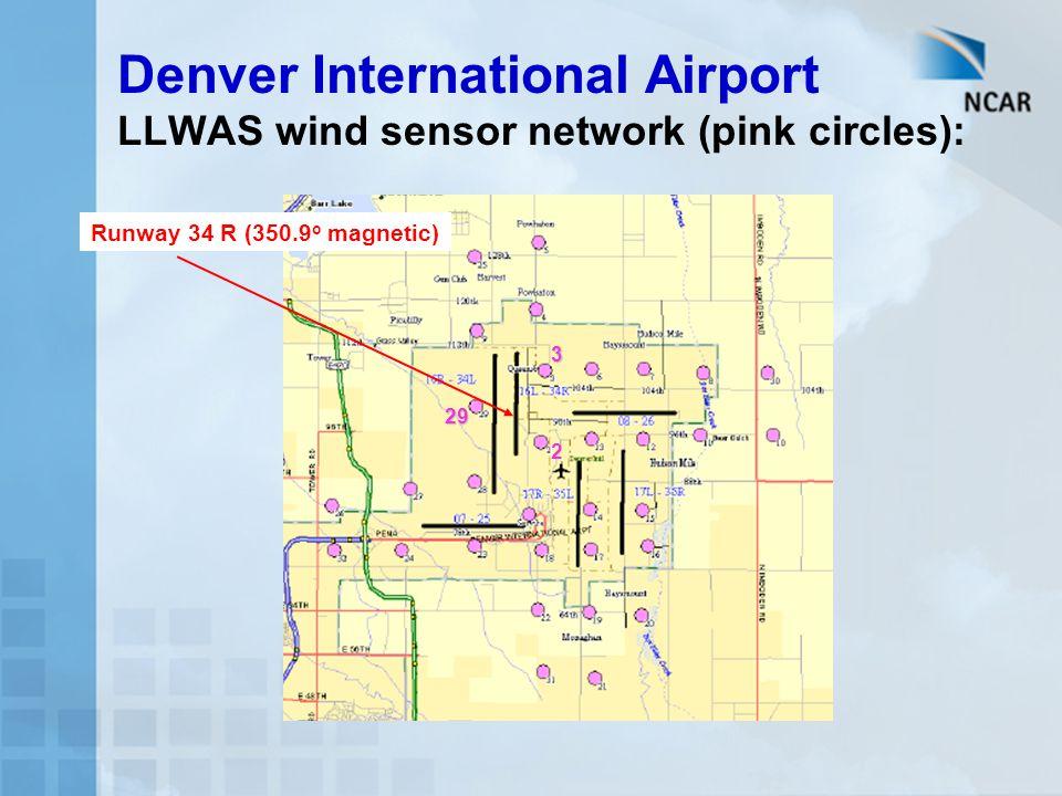 Denver International Airport LLWAS wind sensor network (pink circles):
