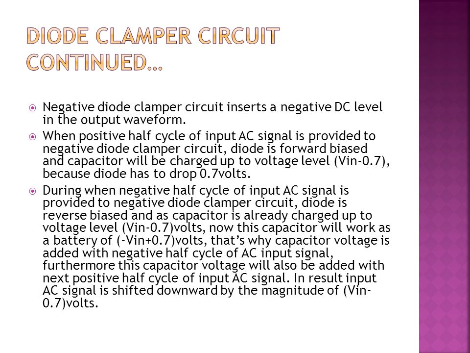 Diode Clamper circuit Continued…