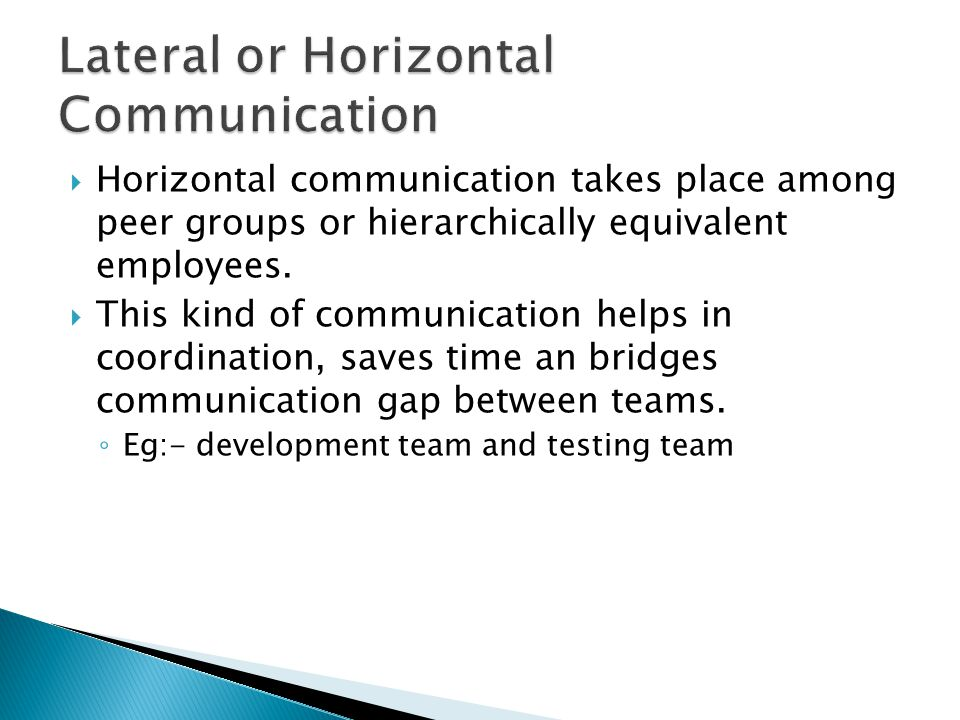 Lateral or Horizontal Communication