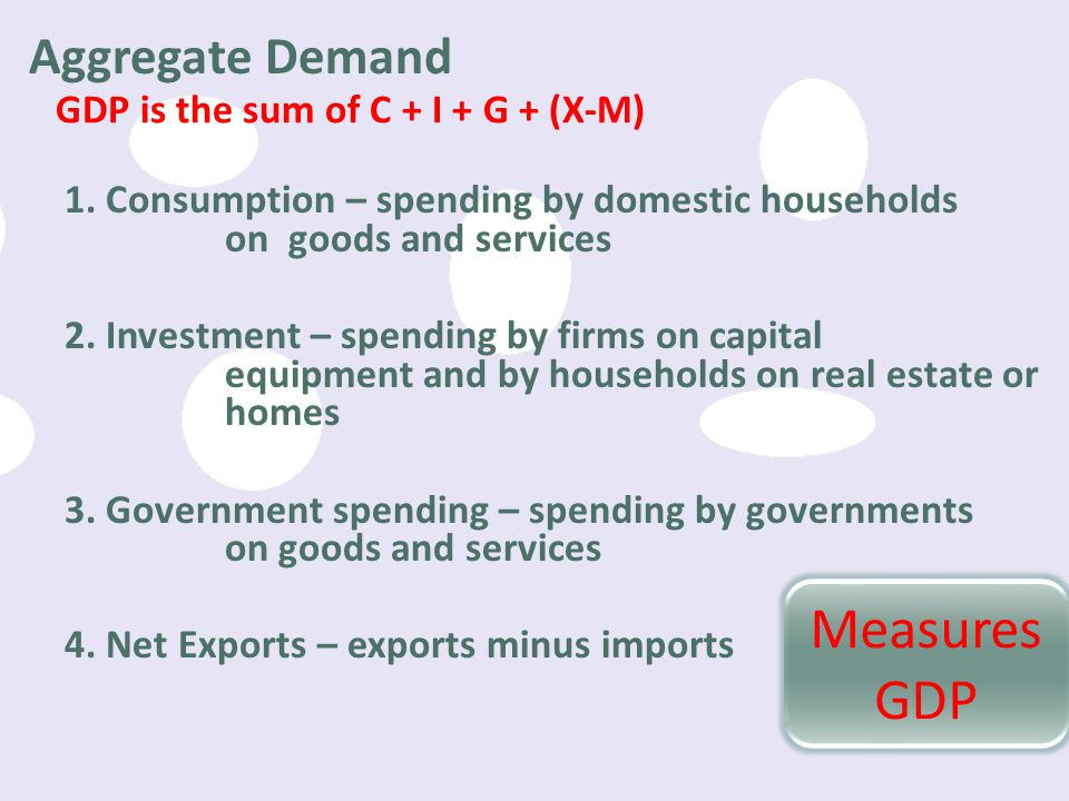 Measures GDP Aggregate Demand GDP is the sum of C + I + G + (X-M)