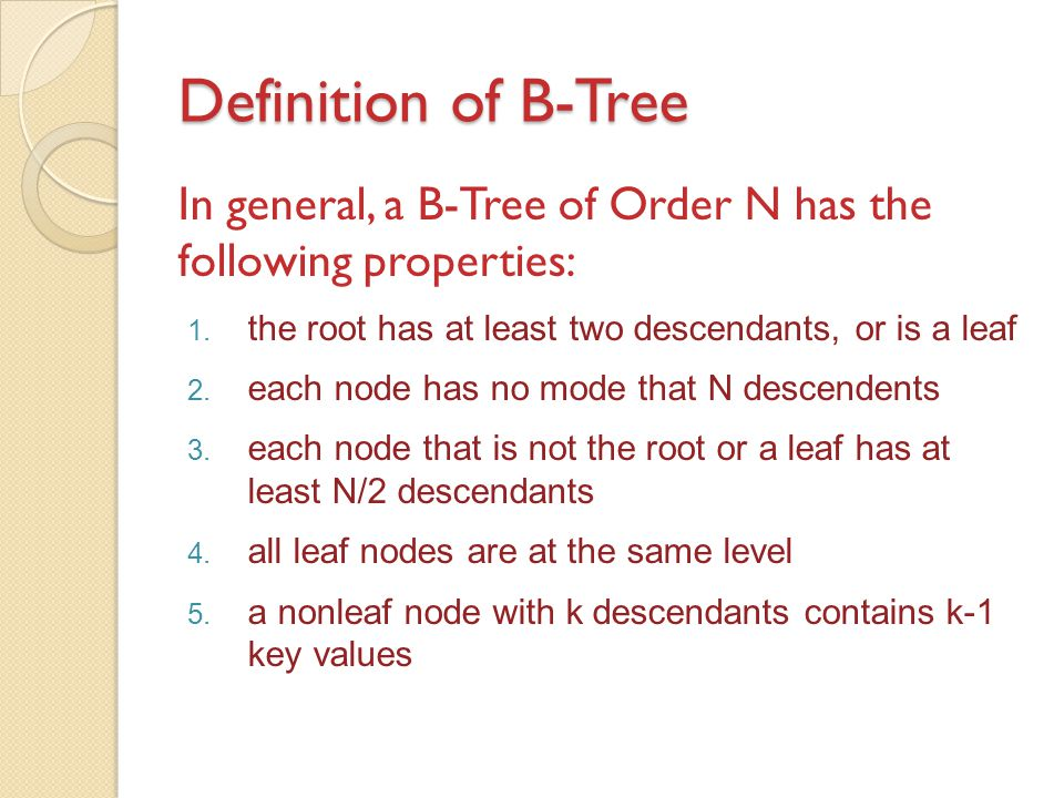 Definition of B-Tree In general, a B-Tree of Order N has the following properties: the root has at least two descendants, or is a leaf.