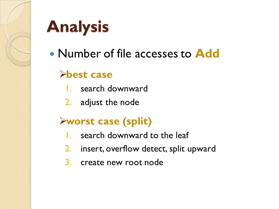 Analysis Number of file accesses to Add best case worst case (split)
