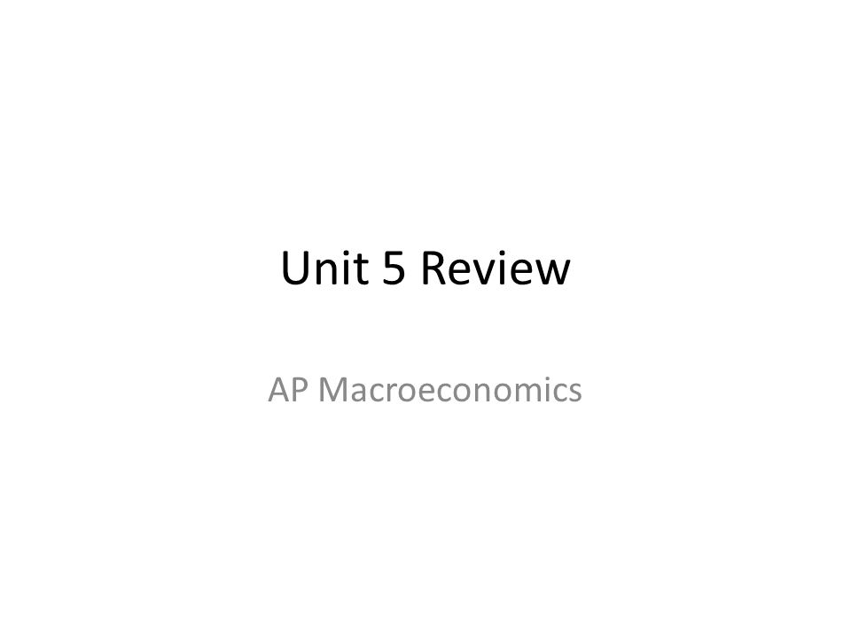 Unit 5 Review AP Macroeconomics