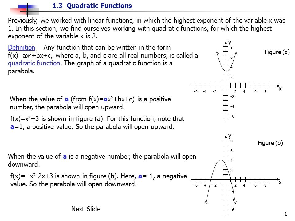 Previously, we worked with linear functions, in which the highest exponent of the variable x was 1. In this section, we find ourselves working with quadratic functions, for which the highest exponent of the variable x is 2.