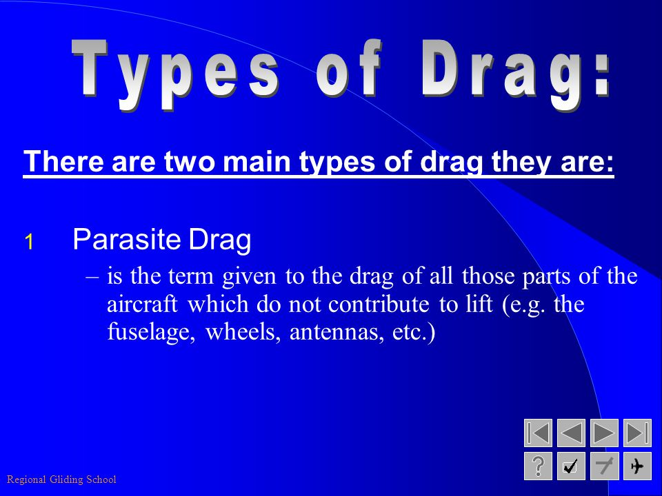 Types of Drag: There are two main types of drag they are: