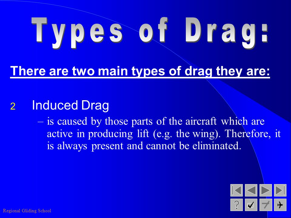Types of Drag: There are two main types of drag they are: Induced Drag