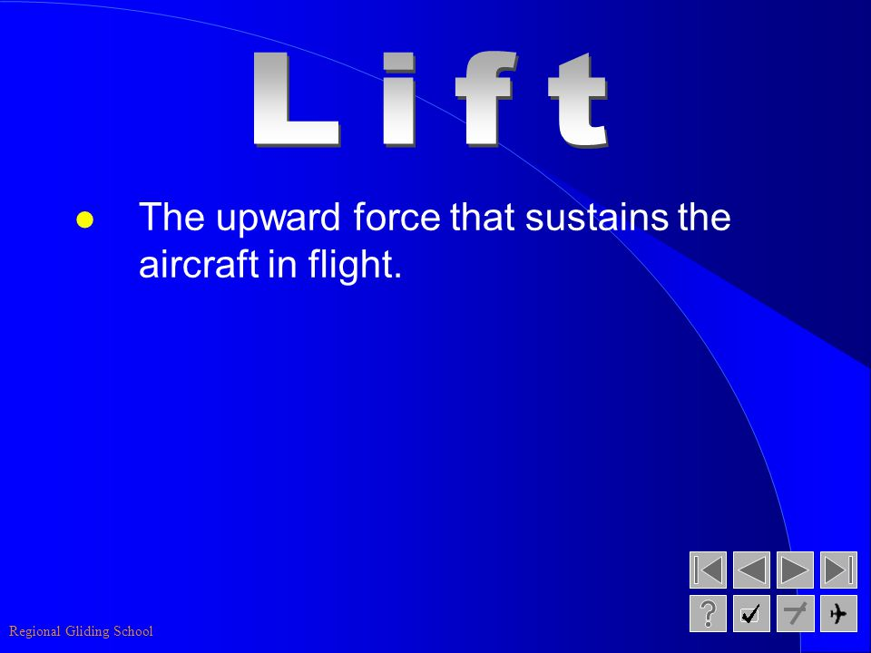 Lift The upward force that sustains the aircraft in flight.