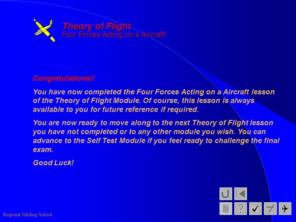 Theory of Flight Four Forces Acting on a Aircraft Congratulations!!